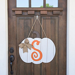 Barnwood Monogram S Pumpkin Wooden Plaque