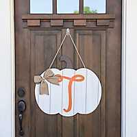 Barnwood Monogram T Pumpkin Wooden Plaque