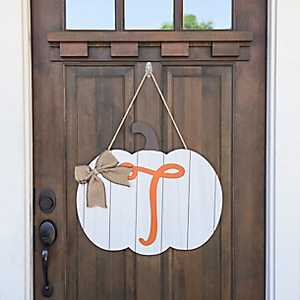 Barnwood Monogram T Pumpkin Wooden Plaque