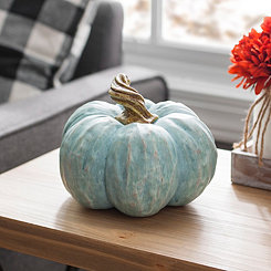 Twisted Stem Blue Resin Pumpkin
