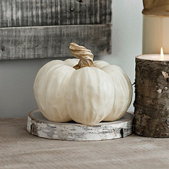 Twisted Stem Cream Resin Pumpkin