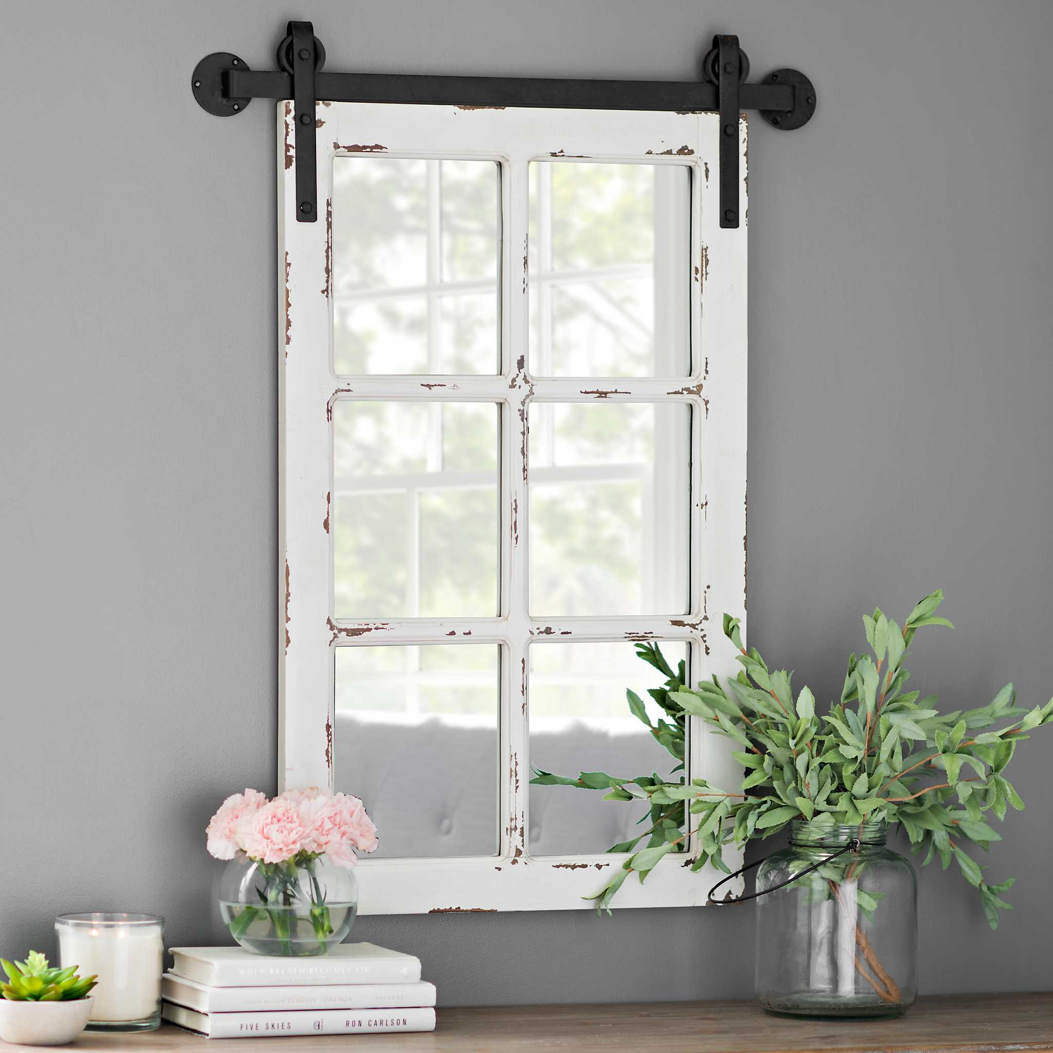 Rustic Antique White Farmhouse Mirror Kirklands