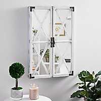White Shutter Barn Door Decorative Mirror