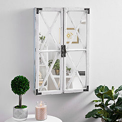 White Shutter Barn Door Decorative Mirror