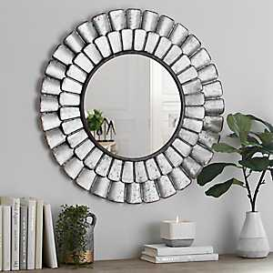 Galvanized Metal Petal Wall Mirror
