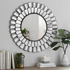 Galvanized Metal Petal Wall Mirror