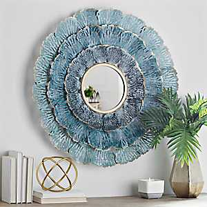 Shades of Blue Coral Fan Wall Mirror