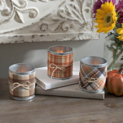 Galvanized Plaid Votive Candle Holders, Set of 3