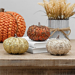 Mini Glitter Pumpkins, Set of 3