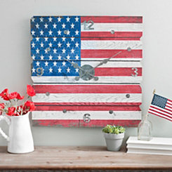 American Flag Plank Wall Clock