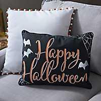 Happy Halloween Spider Web Pillow