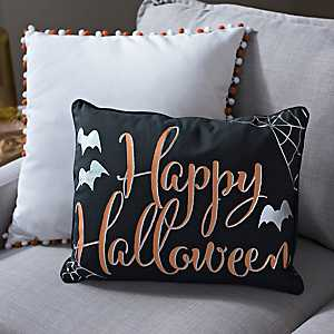 Happy Halloween Spider Web Pillow