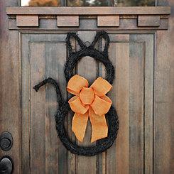 Black Cat Twig Wreath