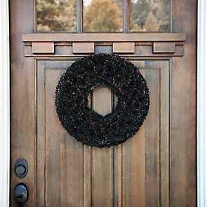 Black Wood Chip Glitter Wreath