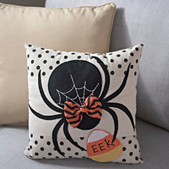 Black Bow Spider Pillow