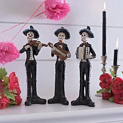Dia de los Muertos Mariachi Statues, Set of 3