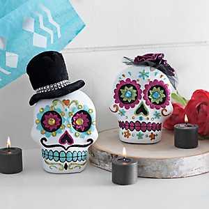 Dia de los Muertos Sugar Skulls, Set of 2