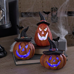 LED Jack O' Lanterns, Set of 3