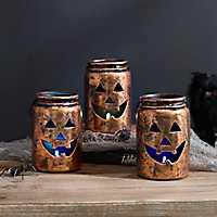 Orange LED Jack O' Lantern Mason Jars, Set of 3