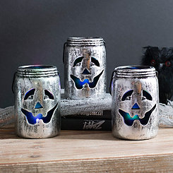 Silver LED Jack O' Lantern Mason Jars, Set of 3