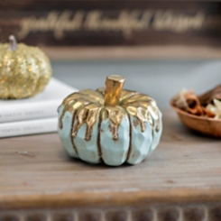 Gold Drip Blue Pumpkin, 4.5 in.