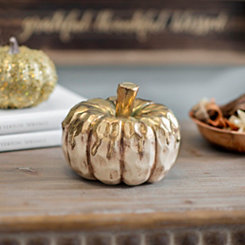 Gold Drip Cream Pumpkin, 4.5 in.