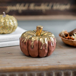 Gold Drip Rust Pumpkin, 4.5 in.