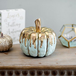 Gold Drip Blue Pumpkin, 7 in.