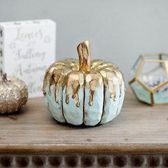 Gold Drip Blue Pumpkin, 7 in.