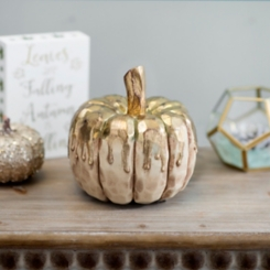 Gold Drip Cream Pumpkin, 7 in.