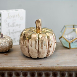 Gold Drip Cream Pumpkin, 7 in.