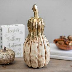 Gold Drip Cream Gourd, 13 in.