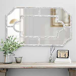 Ember Distressed White Paned Wall Mirror