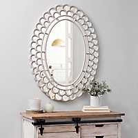 Rustic White Fanfare Wall Mirror