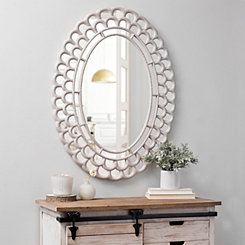 Rustic White Fanfare Wall Mirror