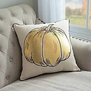 Gold Pumpkin Harvest Pillow