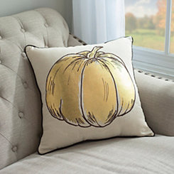 Gold Pumpkin Harvest Pillow
