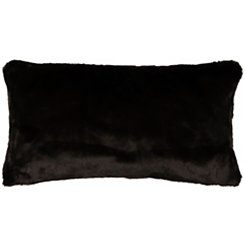 Solid Black Faux Fur Accent Pillow