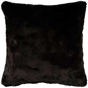 Solid Black Faux Fur Pillow