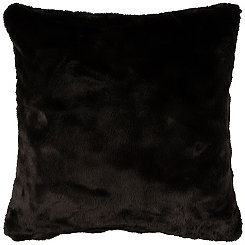Solid Black Faux Fur Pillow