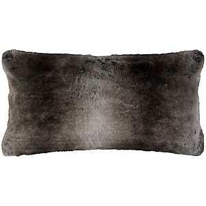 Gray Stripe Faux Fur Accent Pillow