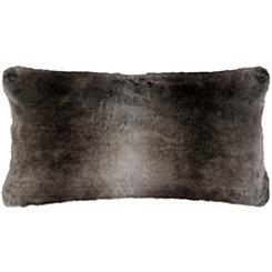 Gray Stripe Faux Fur Accent Pillow
