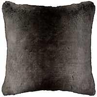 Gray Stripe Faux Fur Pillow