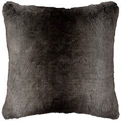 Gray Stripe Faux Fur Pillow