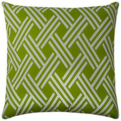 Green Crosshatch Outdoor Pillow