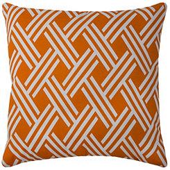 Orange Crosshatch Outdoor Pillow