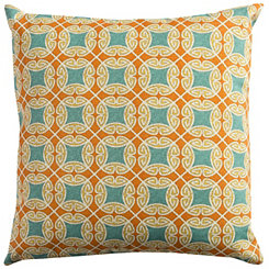 Orange and Blue Geometric Outdoor Pillow