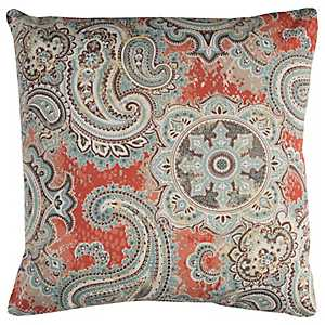 Orange Paisley Outdoor Pillow
