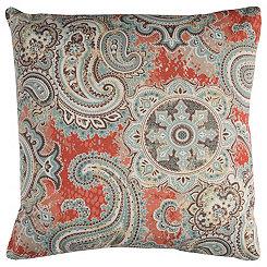 Orange Paisley Outdoor Pillow