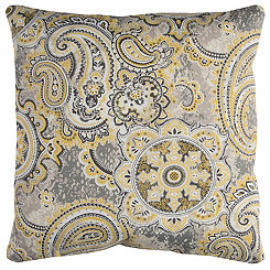 Gray Paisley Outdoor Pillow